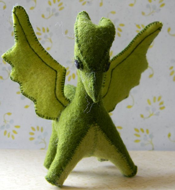 Items similar to large green felt dragon on Etsy
