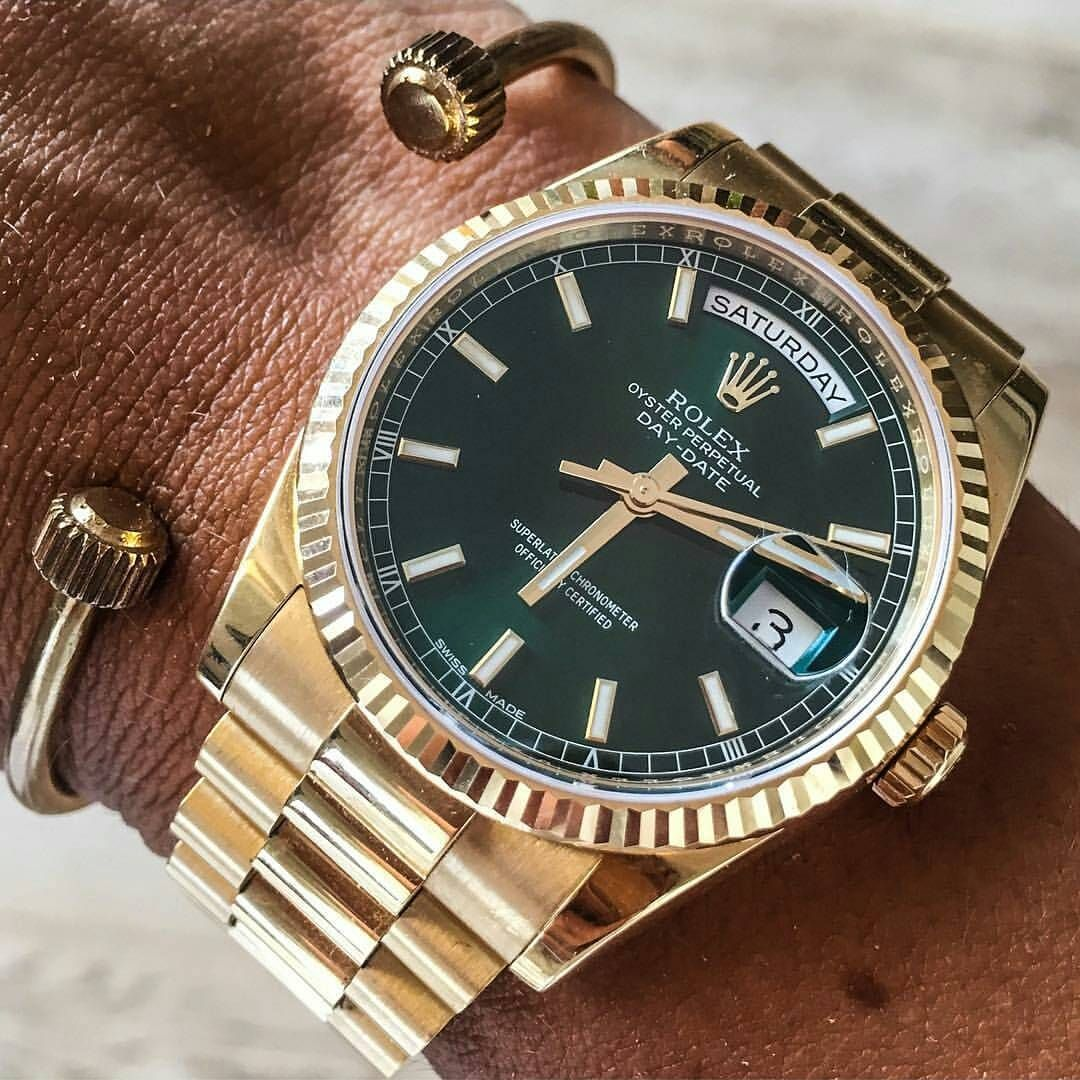 Rolex Daydate Gold Rolex Daydate 118238 With Green Dial And 7dline