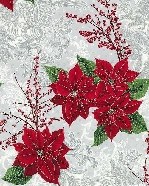 Berries & Blooms - Regal Poinsettias - Quilt Fabrics from ...