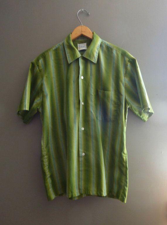 b26862d41e69d 1960s Mens Town Craft Shirt / Green Blue / Button Up / Short Sleeve ...