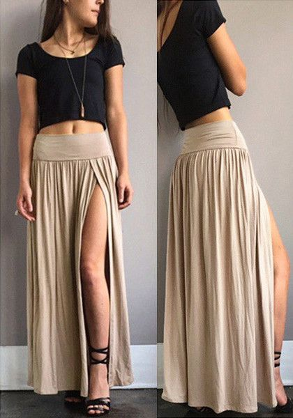 Nude Side Slit Maxi Skirt | Art and fashion | Pinterest | Maxi ...