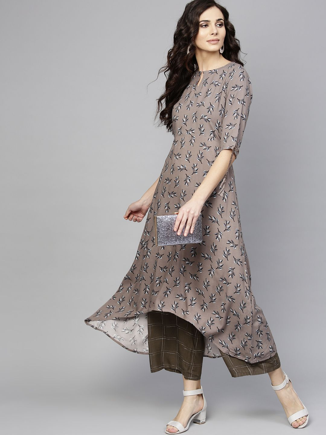 4c3a67523d1 Buy Libas Women Taupe   Grey Printed Kurta With Palazzos - Kurta Sets for  Women 8073771