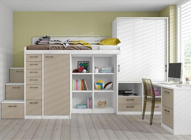 etagenbett mit aufbewahrung beige schrank limba. Black Bedroom Furniture Sets. Home Design Ideas