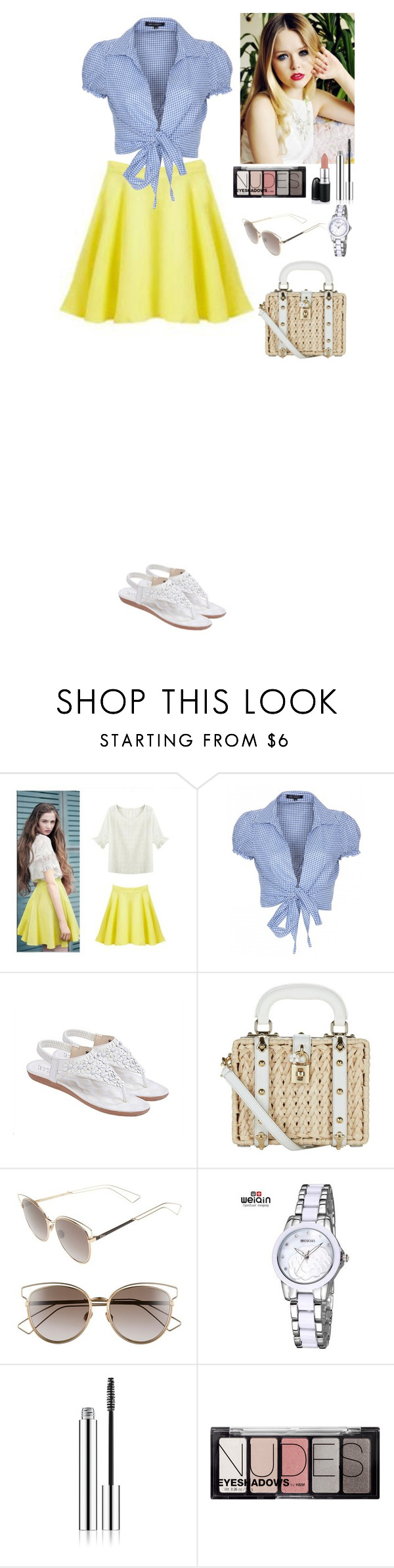 """""""Summer outfit TOMTOP"""" by eliza-redkina ❤ liked on Polyvore featuring QED London, Yves Saint Laurent, Dolce&Gabbana, Christian Dior, H&M, David Jones, Summer, outfit, like and look"""