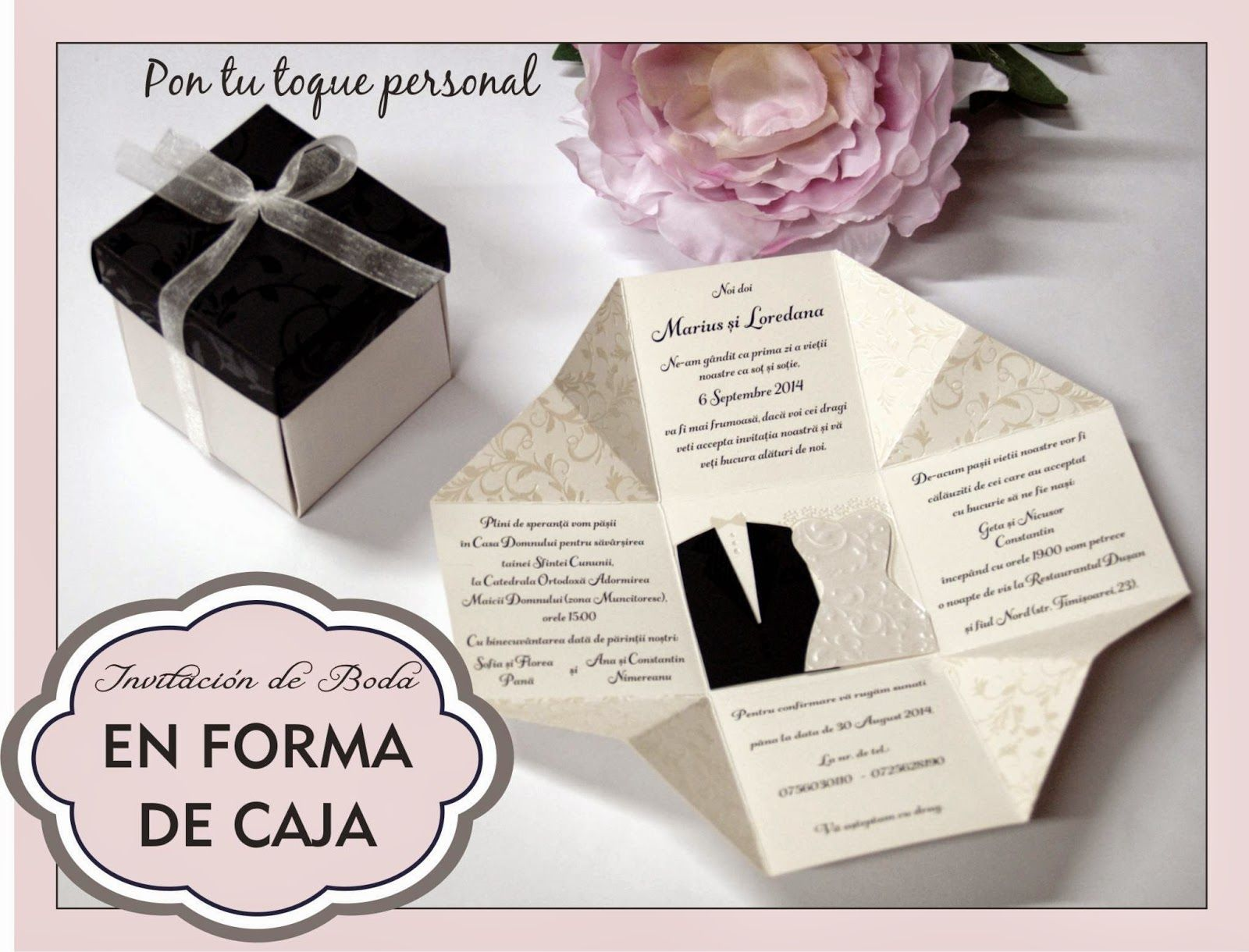 Invitacion De Boda Original Con Forma De Caja Desplegable Original Y Divertida A La Vez Que Eleg Invitacion Boda Originales Invitaciones De Boda Invitaciones