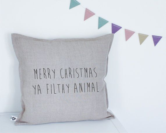 Handmade Decorative Printed Pillow Cover Merry Christmas Ya Filthy Animal Home  Alone Quote By Bubbleslt