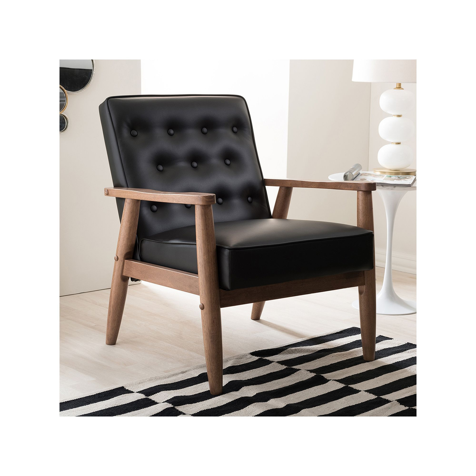 Upholstered rocking chairs baxton studio sorrento midcentury modern lounge accent chair  products