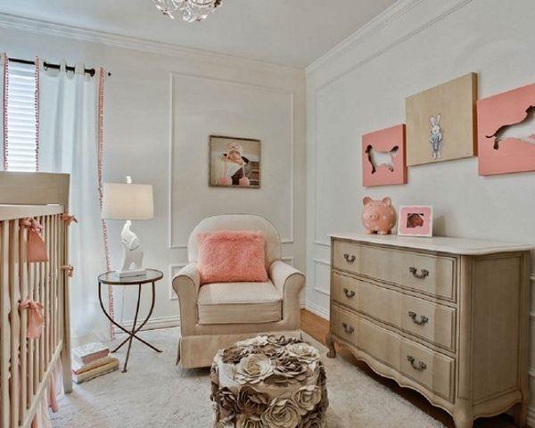 Merveilleux Babyzimmer Dekorieren Beige Koralle Sessel Mit Hocker