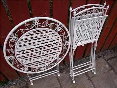 Garden furniture bistro set table and chairs patio shabby chic style white 1 shabby chic - Garden furniture shabby chic ...