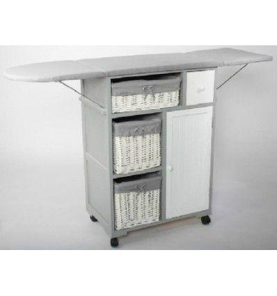 Mueble de plancha gris y blanco con ruedas y plegable - Mueble de plancha ...
