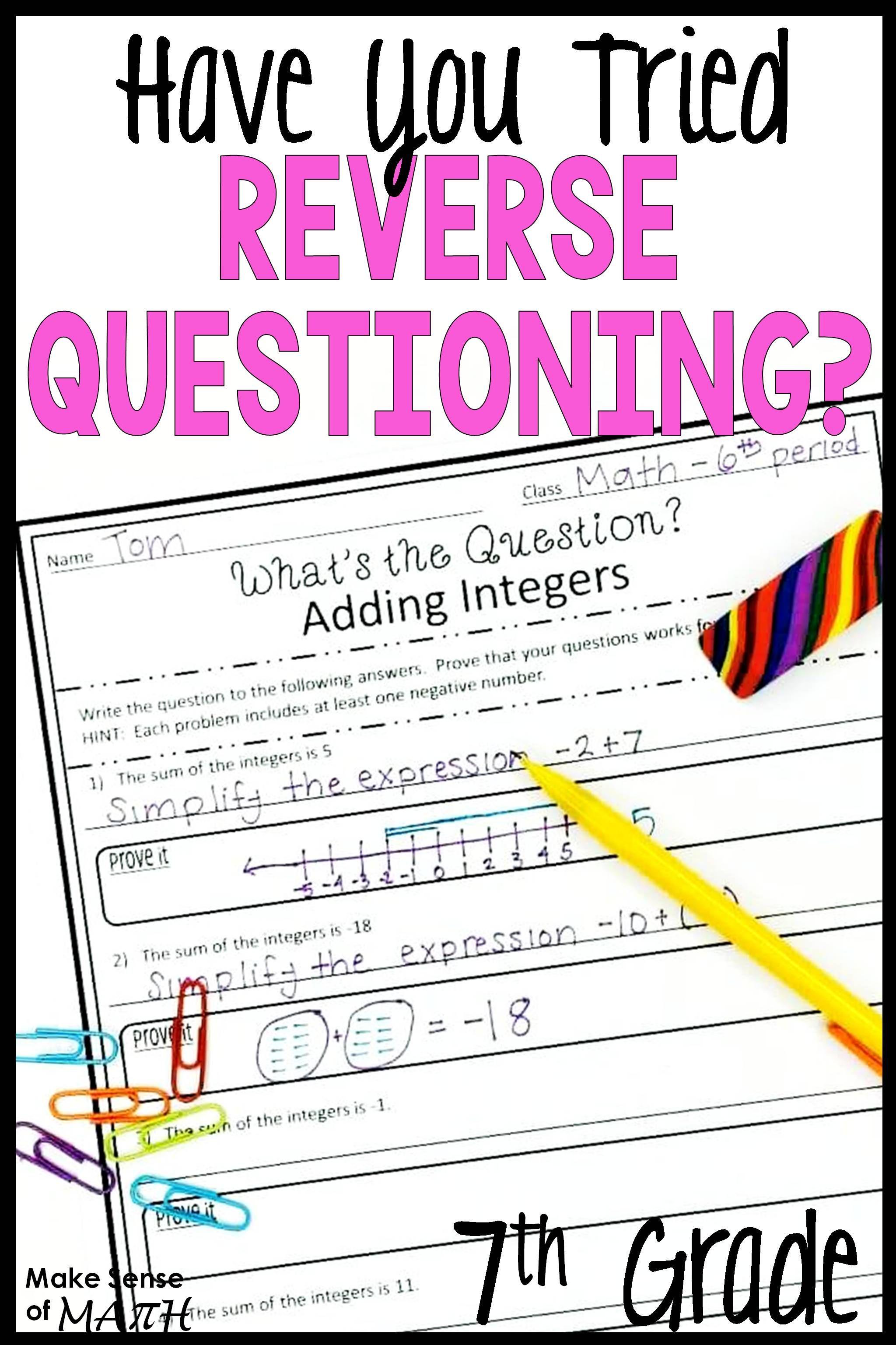 7th Grade Math Higher Order Thinking Skills Activity