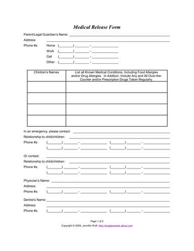 Printable Medical Release Form For Children Inspiration Do You Have A Medical Release Form For Your Kids  Child Care Forms .