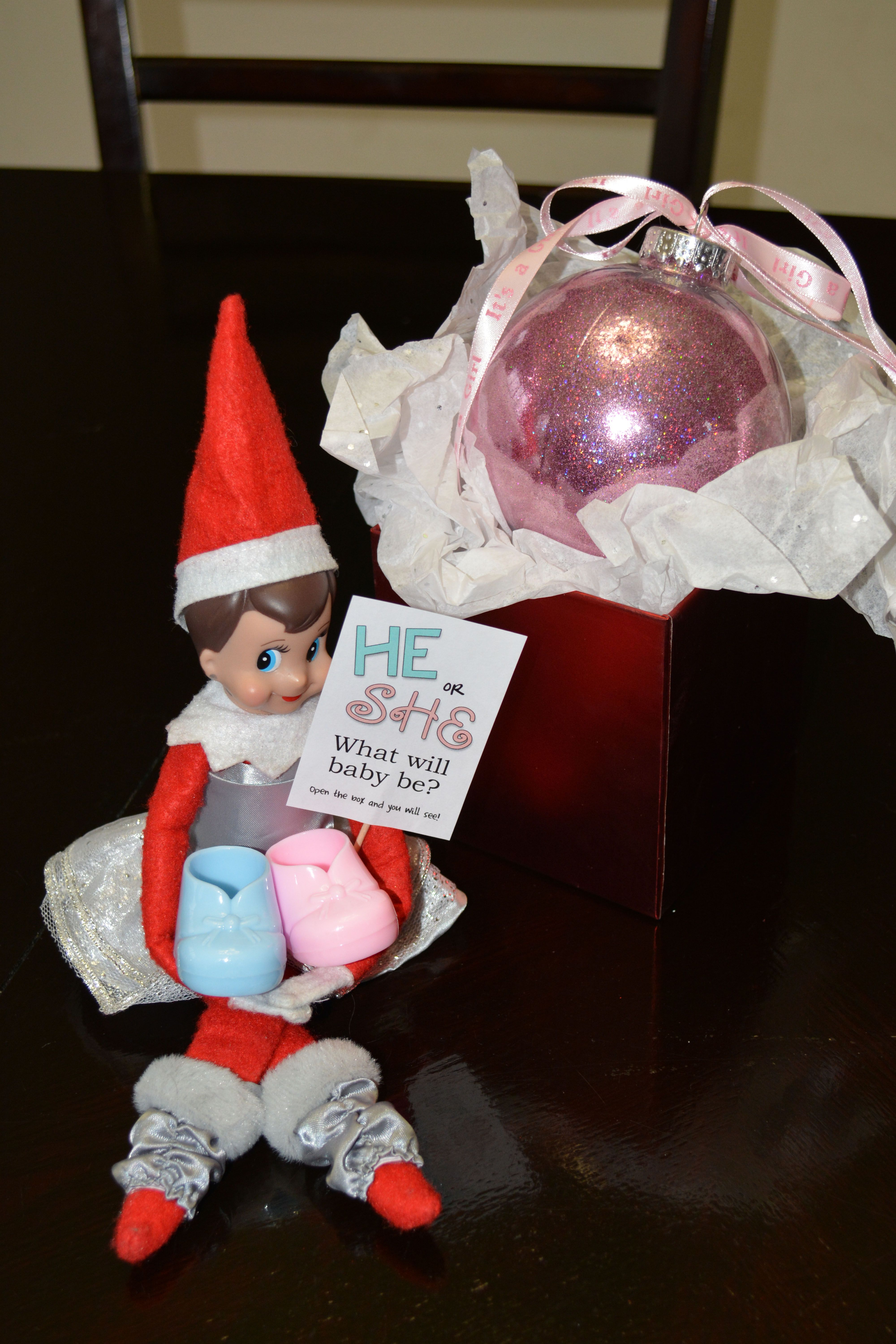 Elf On The Shelf Gender Reveal Idea He Or She What Will Baby Be Open The Box Christmas Gender Reveal Baby Gender Reveal Party Gender Reveal Announcement