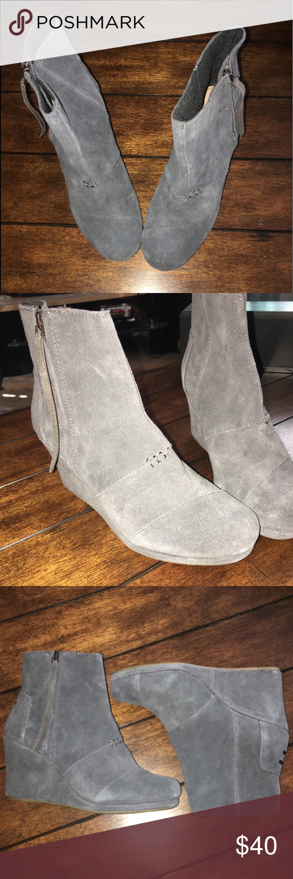 Toms wedged Women's booties Toms wedged Women's booties  Gray suede material with a cute wedge in classic Toms design.  Size: 9.5 W  New without tags Toms Shoes Ankle Boots & Booties #tomwedges Toms wedged Women's booties Toms wedged Women's booties  Gray suede material with a cute wedge in classic Toms design.  Size: 9.5 W  New without tags Toms Shoes Ankle Boots & Booties #tomwedges