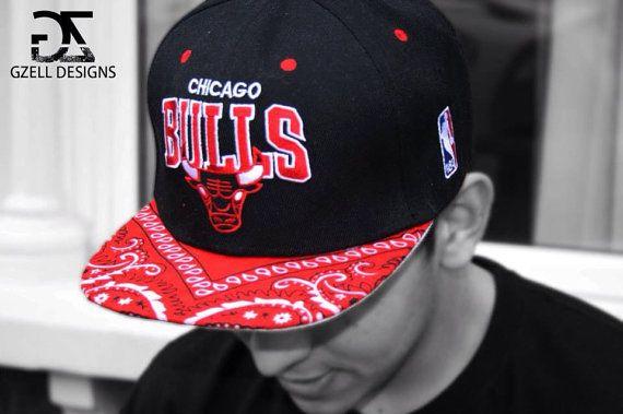 Chicago bulls bandana custom SnapBack on Etsy 62cda6d1e77