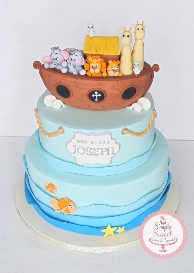 Noah S Ark Baptism With Images Baptism Cake Boy Christening