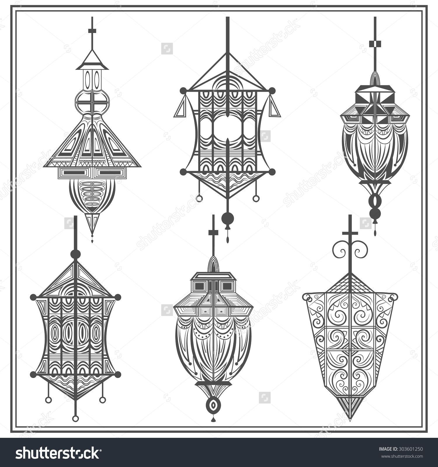 A set of elegant suspended lamps on a white background. Isolated black ethnic elements with swirls for design holiday cards, flyers, brochures. Vector illustration
