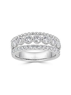 8eca02f1a7aaa SAKS FIFTH AVENUE DIAMOND AND 14K WHITE GOLD THREE-ROW RING ...