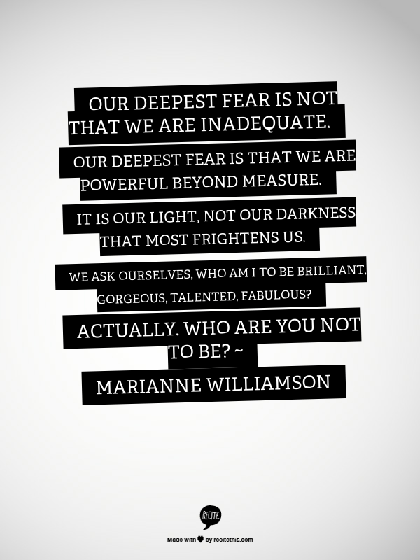 Classroom Poster Our Deepest Fear Is Not That We Are Inadequate