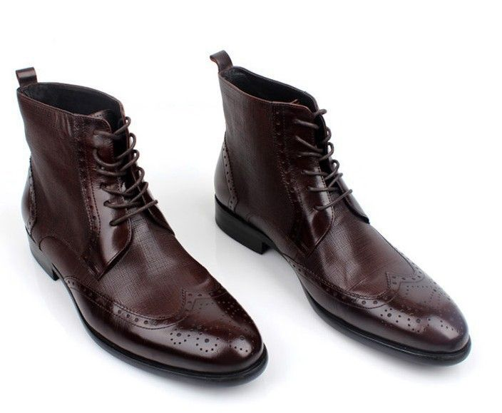 7e13a14807a Men s dress shoes top cowhide male boots British carved embossed lace .