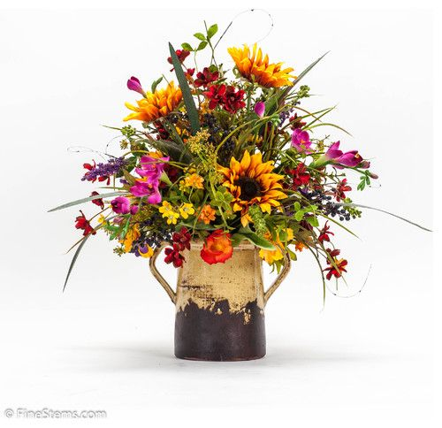 Custom sunflower and wildflower arrangement finestems
