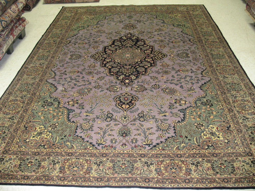 8 X 11 PERSIAN QUM Hand Knotted Wool PURPLE GREEN FINE Oriental Rug Carpet  In Antiques