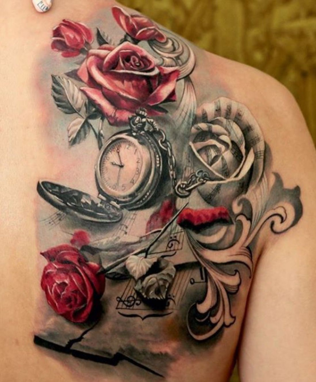 For those music& flower lovers// Pocket watch tattoos// color tattoos// watercolor tattoos// flower tattoos// music note tattoos// back tattoos// tattoo ideas