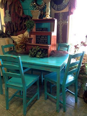 Hand Painted Turquoise Table Chairs At Homestead Handcrafts San Antonio Texas