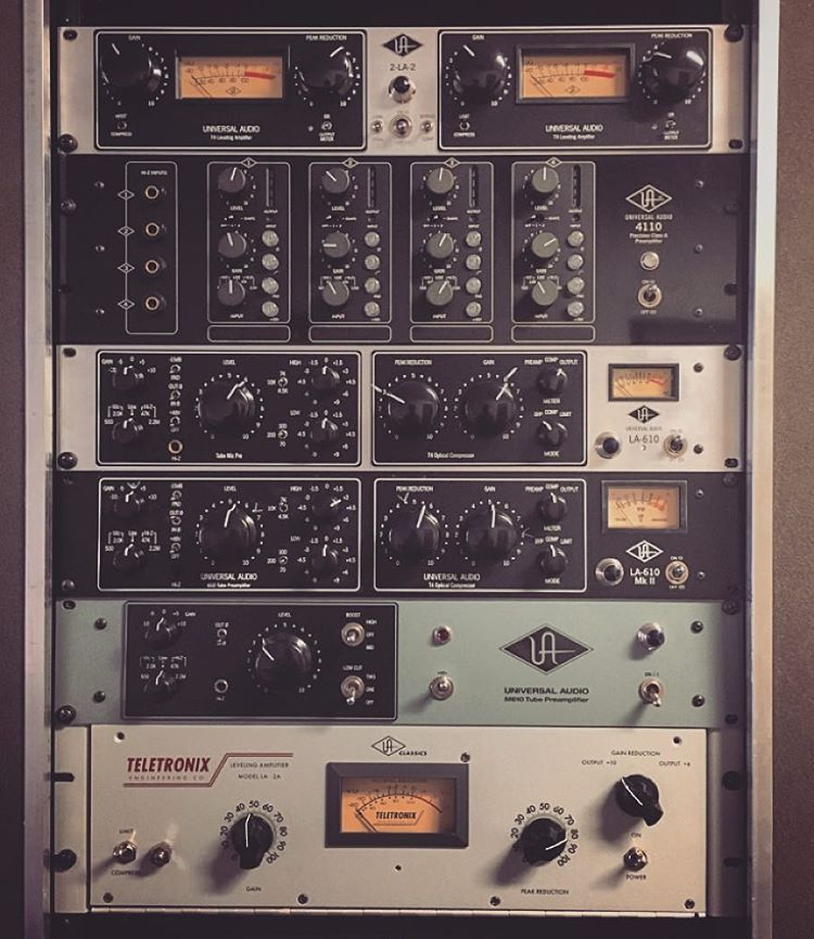 Nice rack of UAD Outboards  Compressors, limiters, eq and