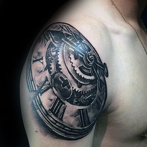 manly guys 3d clock roman numeral gear tattoo on upper arm tattoo pinterest tattoos for. Black Bedroom Furniture Sets. Home Design Ideas