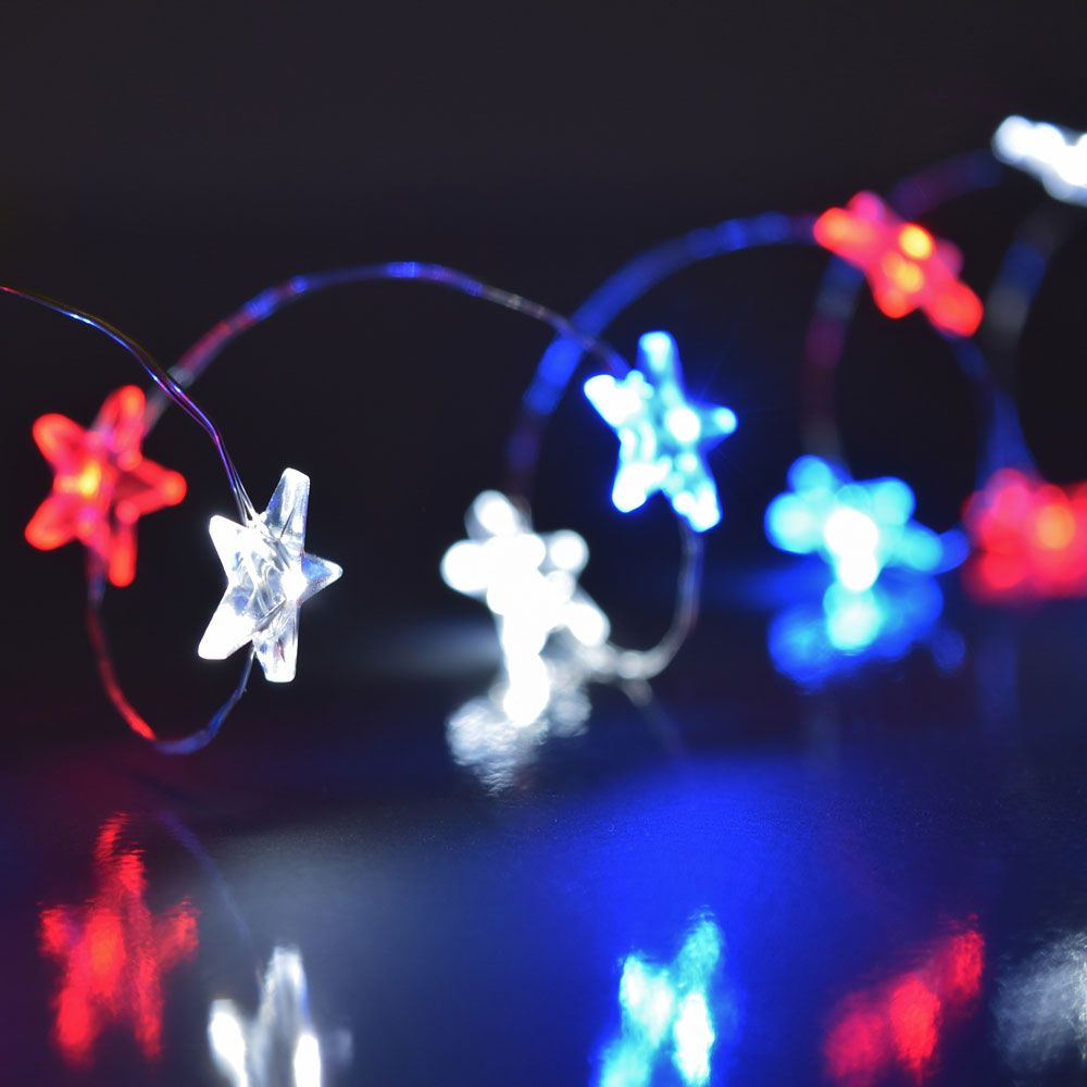 Red White Blue Battery Operated Led Lights Patriotic Star Shaped Mini String Are Great For Using To Celebrate Your Patriotism During Memorial