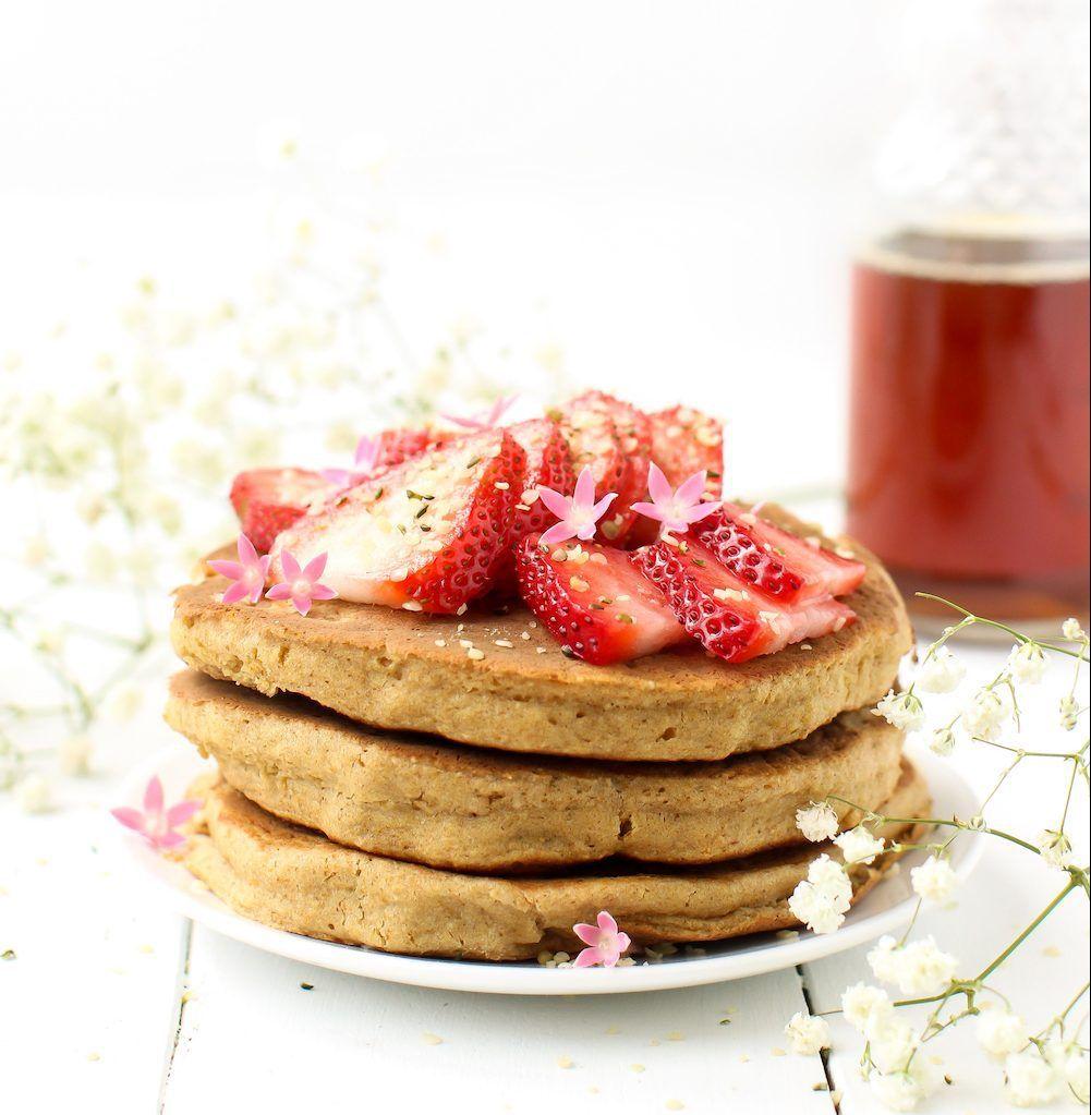 Fluffy Vegan Pancakes Without Banana Gluten And Oil Free Recipe Fluffy Vegan Pancakes Food Vegan Pancakes