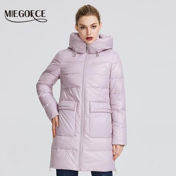 Miegofce Womens Winter Jacket Windproof Coat With A Stand