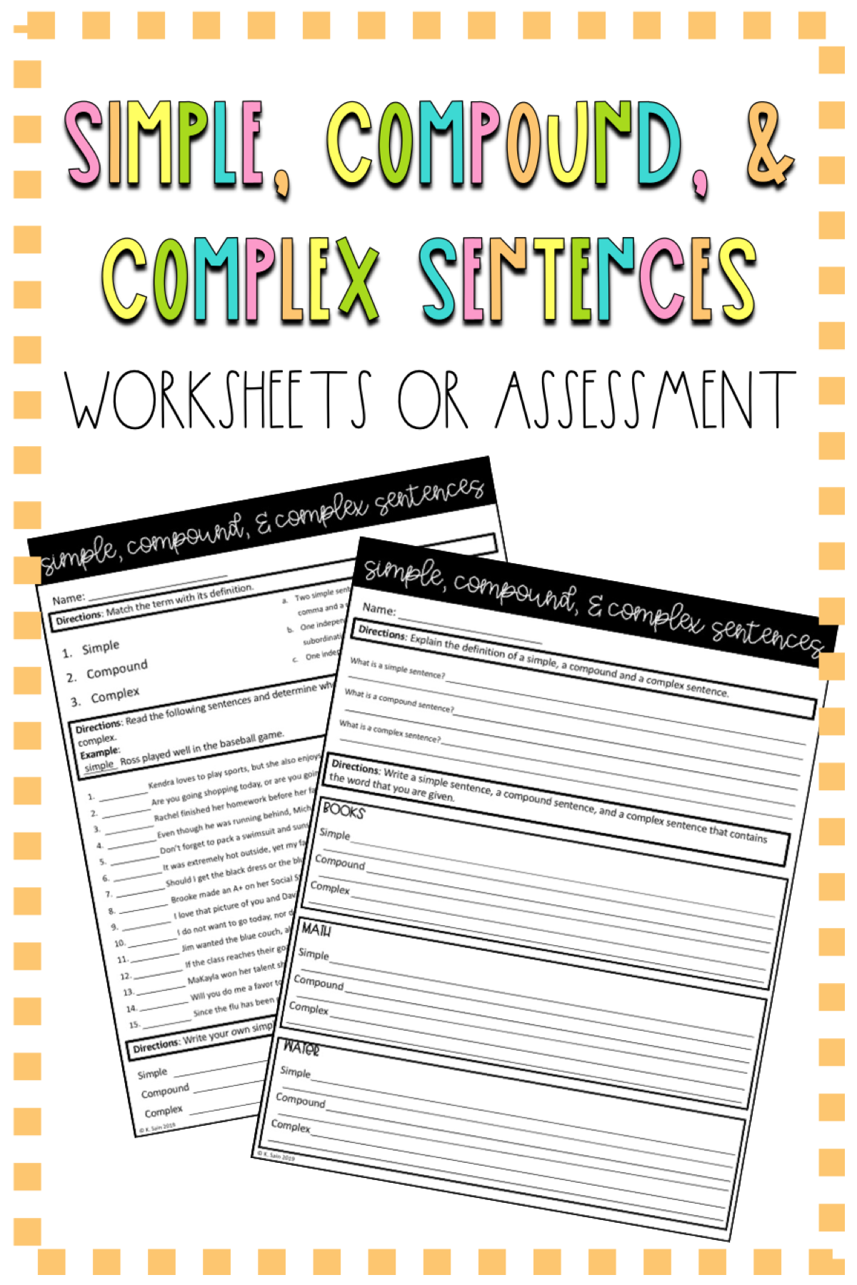 Simple Compound And Complex Sentence Worksheets Sentence