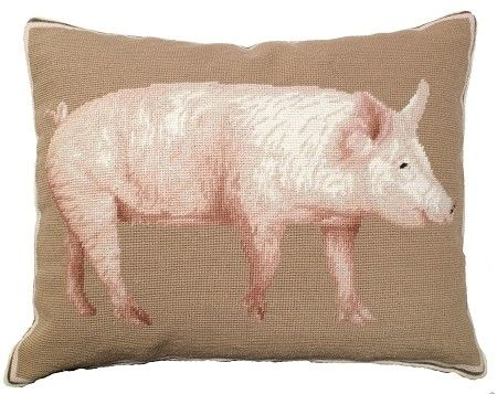 American Yorkshire Pig - 16 X 20 - needlepoint pillow