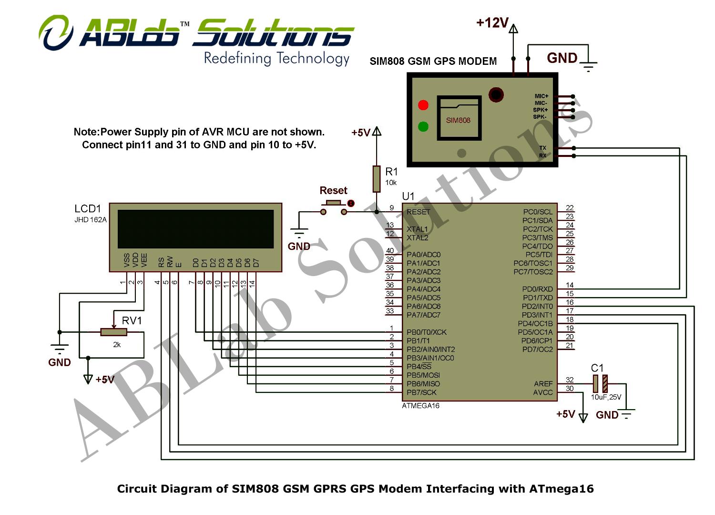 Sim808 Gsm Gprs Gps Modem Interfacing With Avr Atmega16 Dtmf Based Robo Car Design Circuit Using 8051 Microcontroller