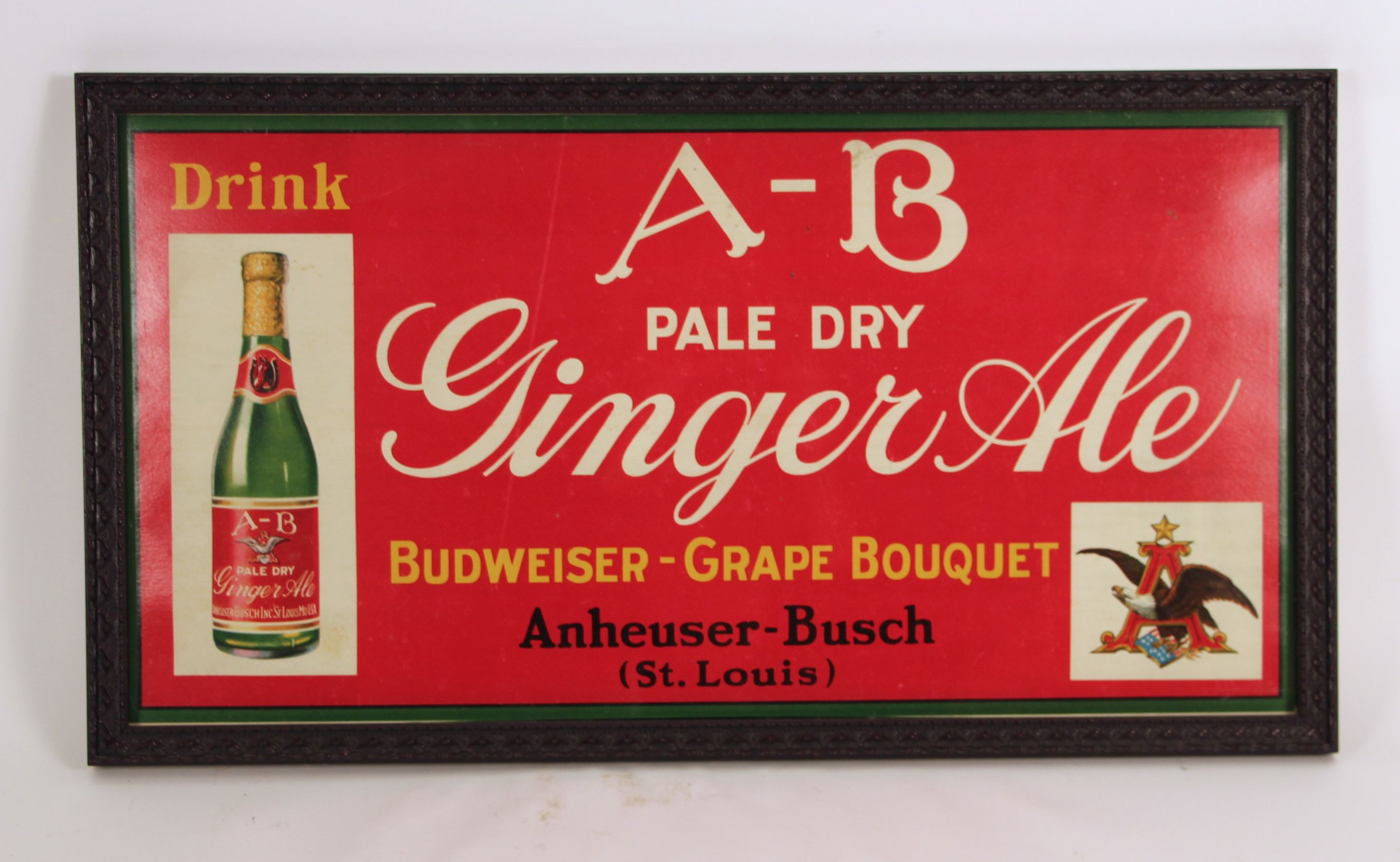 Anheuser Busch Pale Dry Ginger Ale Cardboard Sign Pre Prohibition Era Circa 1916 The Antique Advertising Expert Ginger Ale Dry Ginger Beer Brands