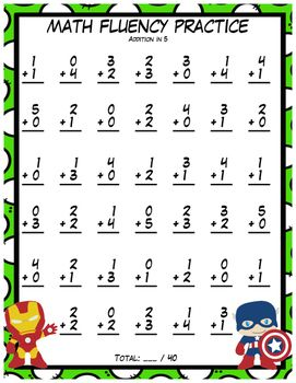 Addition And Subtraction Fluency Practice In 5 And 10 Super Heroes Addition And Subtraction Fluency Practice Subtraction
