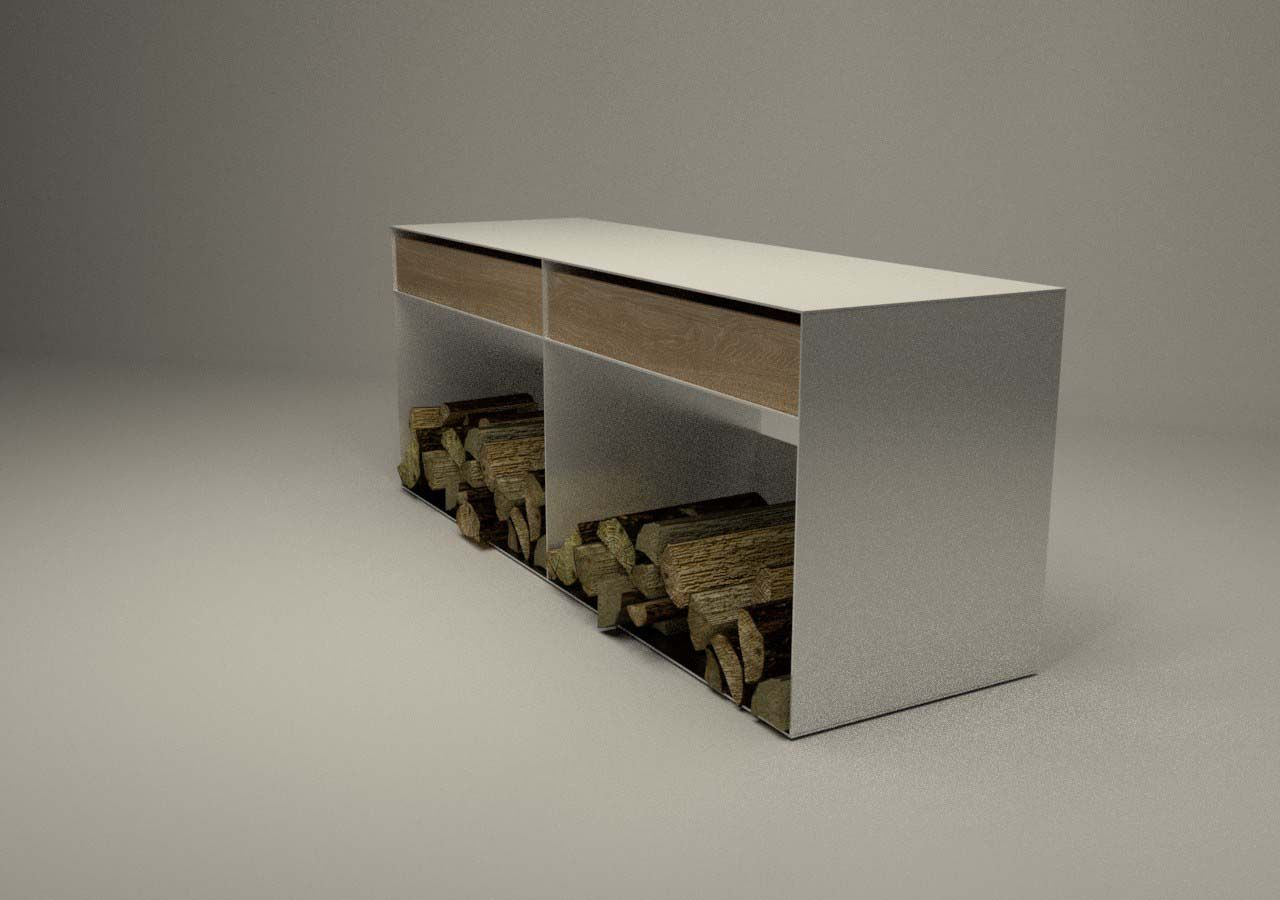 Aufbewahrung Kaminholz design metallmoebel kaminholz sideboard brennholz aufbewahrung aus