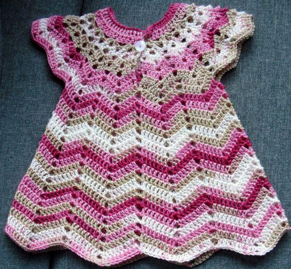 crochet dress baby dress 68-80 by silkeskreativecke on Etsy