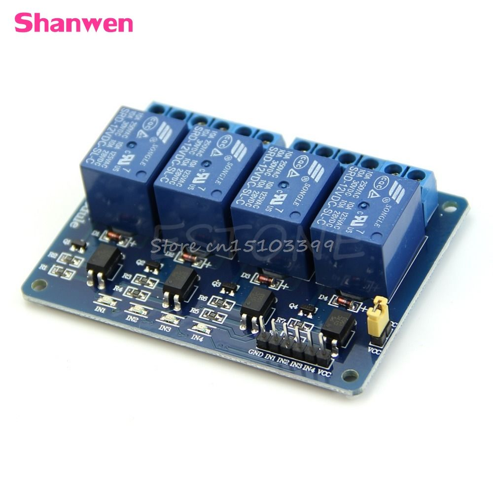 12v 4 Channel Relay Module With Optocoupler Pic Avr 51 Arm For Quality 12 Volt Single