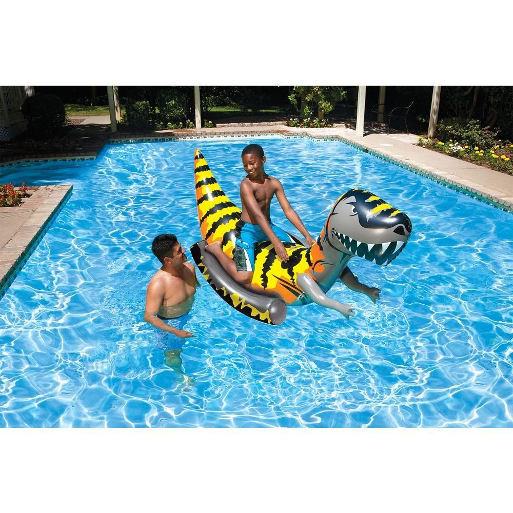 Poolmaster T Rex Swimming Pool Float Rider 81735 The Home Depot Swimming Pool Floats Pool Float Swimming Pools
