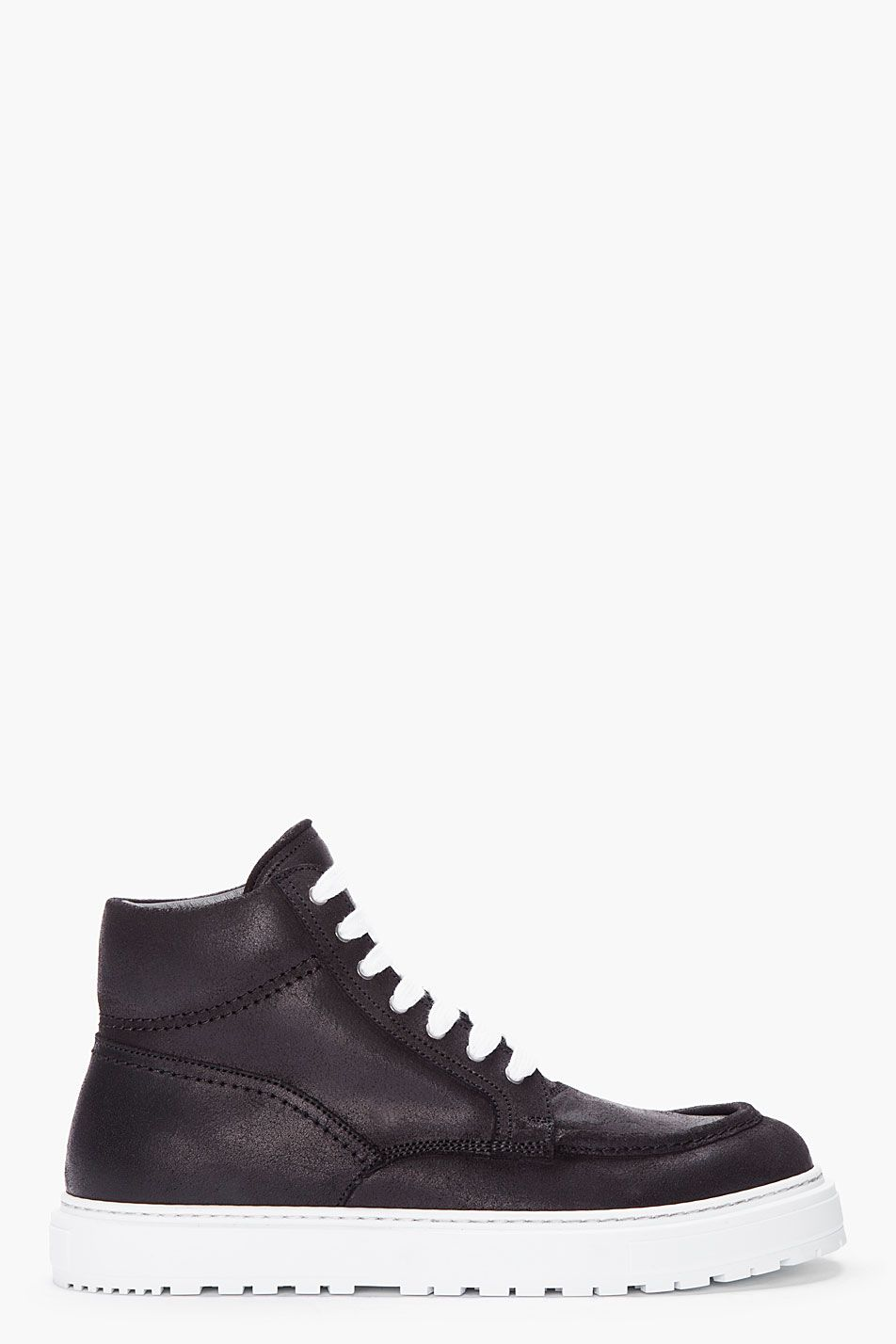 b59fa00d27 Kris Van Assche Black Leather Boat Sneakers in Black for Men