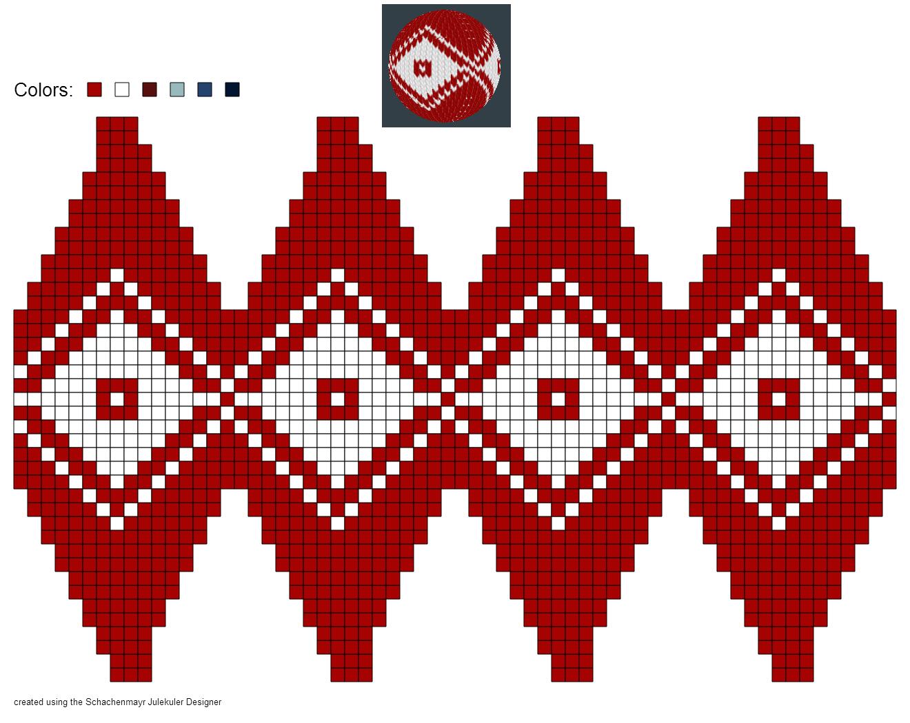 FREE Beaded Bead Pattern ___ created using Schachenmayr #Julekuler Designer #christmas