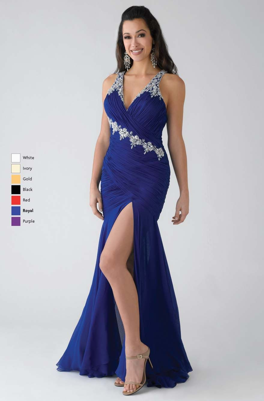 e3c8b80404 Cheap Royalblue Mermaid V-Neck and Strap V Back Floor Length Prom Dresses  With Beading and High Slit and Ruffles online sale