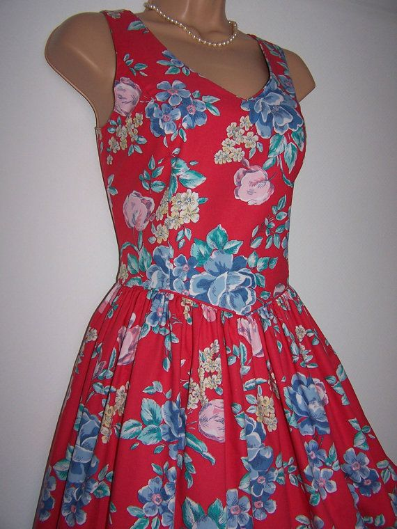 Laura Ashley Vintage Striking Red Floral By Timesoflauraashley Red Floral Dress Love Her Style Fashion