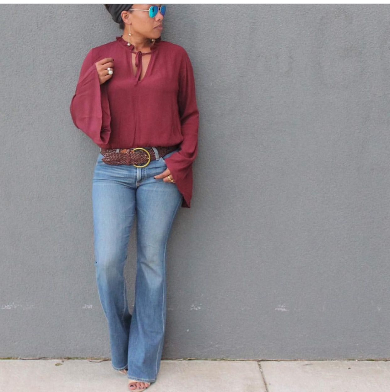 I love the flowy sleeves and style and color is perfect