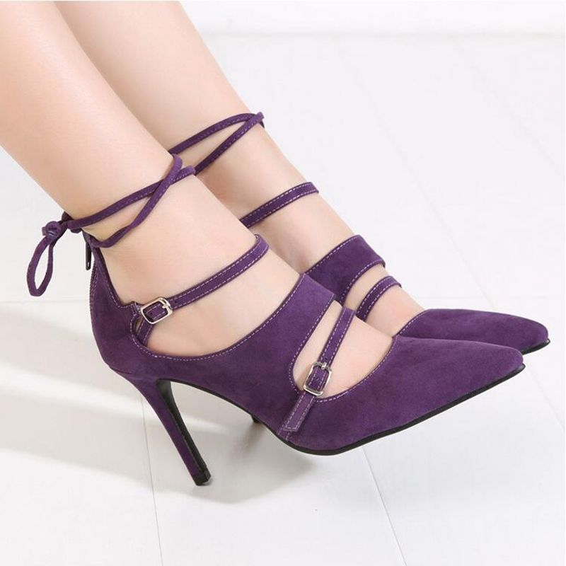 2016 Spring Fashion Pointed Stilettos Women Pumps High Heels Shoes Black Red Purple High-heeled Female Shoes Plus Size 43 XP35