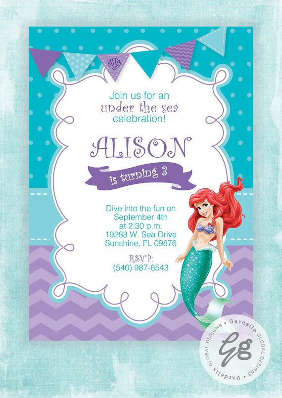 Little Mermaid Invitation Invite Ariel Princess Party Birthday
