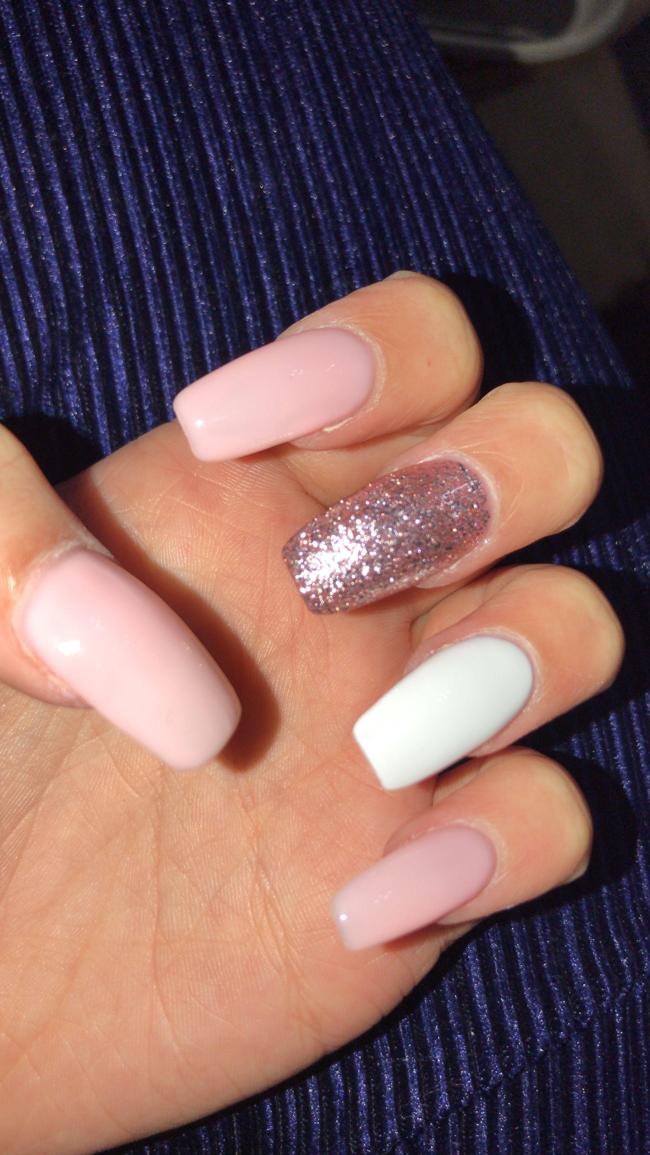 Pink White And Glitter Nails Pink Acrylic Nails Pale Pink Nails Blush Pink Nails